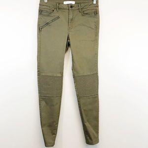 Zara Mid-rise Skinny Moto Jean in olive green